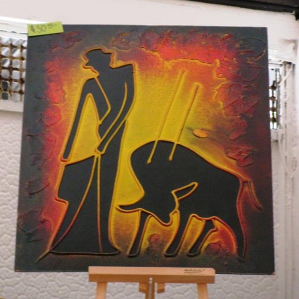 Matador & bull painting