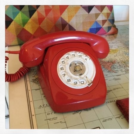 1970s Retro Vintage Red Dial Phone