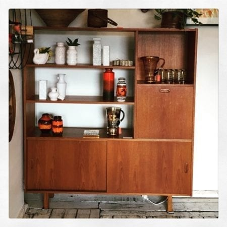 Tall Mid Century Display Cocktail Cabinet