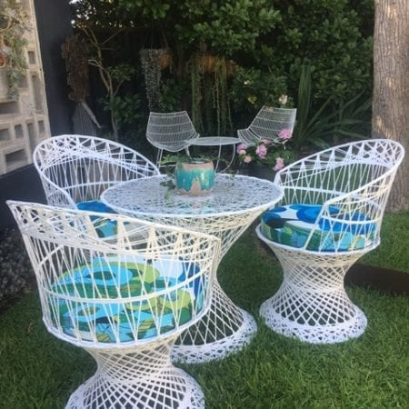 Russell Woodard Spun Fibreglass Retro Mid Century Outdoor Table & Chairs