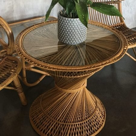 Vintage Bohemian Cane Table