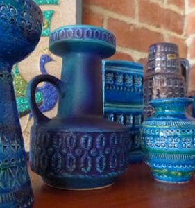 West German & Bitossi Blue Ceramic Jugs & Vases