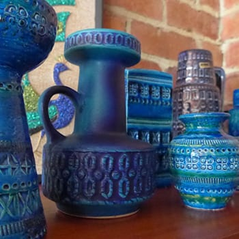 Vintage Bitossi & West German Blue Ceramic Vases & Jugs