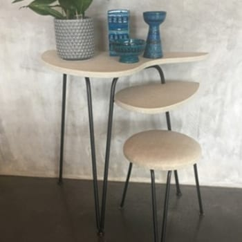 1950s Atomic Wrought Iron Table & Stool