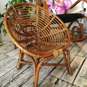 Vintage Child Cane Saucer Chair