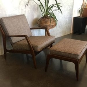 Mid Century Danish Armchair and Footstool