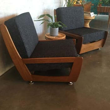 Mid Century Timber Framed Lounge Chairs