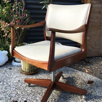 Mid Century Teak & Vinyl Office Chair