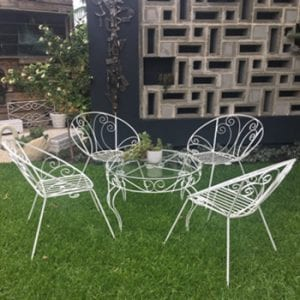 Mid Century Vintage Wrought Iron Outdoor Patio Setting - Table & Chairs