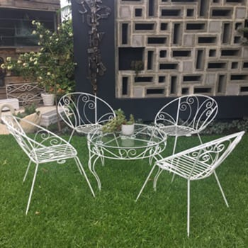 1950s Wrought Iron Outdoor Garden Patio Setting - Saucer Chairs & Table