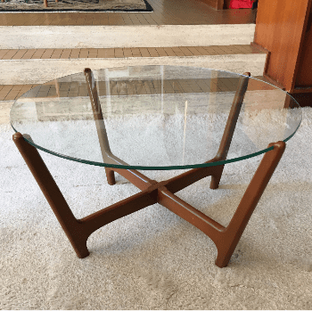 Mid century glass top table - timber base