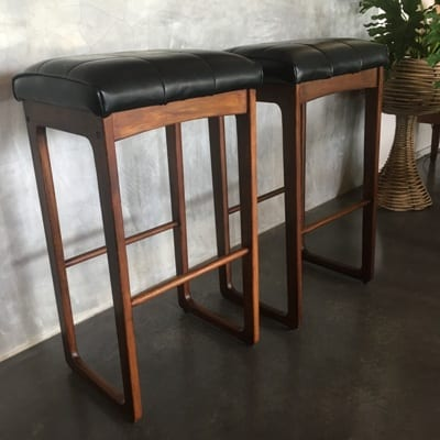 Mid Century Timber & Vinyl Bar Stool - Gerald Easden Style side view left