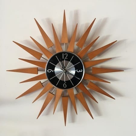 Mid Century Timber Starburst Wall Clock | 20th Century Vintage