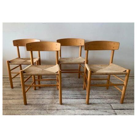 4 x Mid century J39 Chairs Borge Mogensen | 20th Century Vintage
