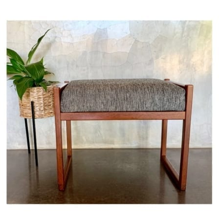 Mid Century Sleigh Base Footstool | 20th Century Vintage Perth