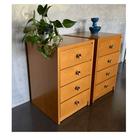 Vintage Blondewood Bedside Drawers | 20th Century Vintage