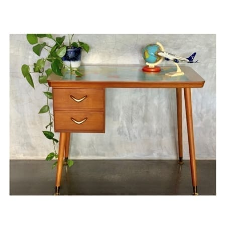 Retro Desk with World Map Top | 20th Century Vintage