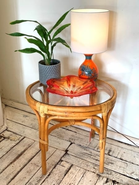 Vintage Cane Glass Top Table | 20th Century Vintage