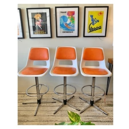 Retro Swivel Chrome & Vinyl Stools | 20th Century Vintage