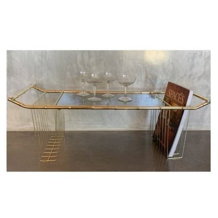 Hollywood Regency Faux Bamboo Brass Tray | 20th Century Vintage