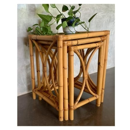 Vintage Cane Nest of Tables | 20th Century Vintage