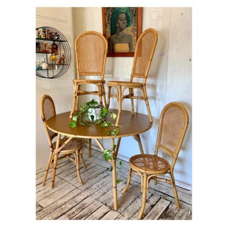 Vintage Cane & Rattan Dining Table & Chairs | 20th Century Vintage